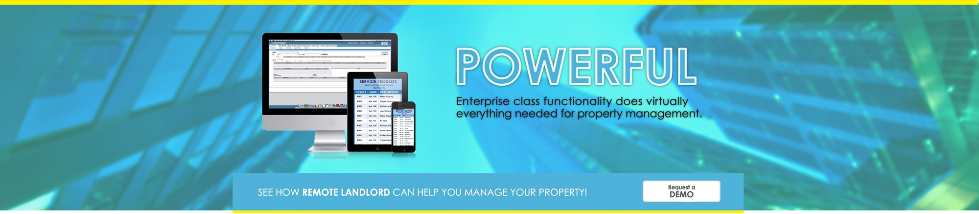 Remote Landlord is a powerful enterprise class software which does virtually everything needed for property management.